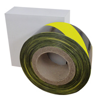 a reel of black and yellow barrier tape