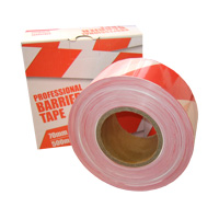 a reel of red and white barrier tape
