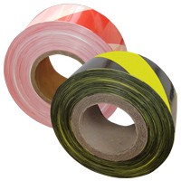 two reels of barrier tape, one red and white, the other black and yellow