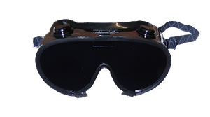 a set of blindfold goggles, black plastic with adjustable strap