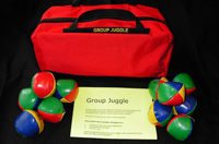 bag with carry handles and 12 colourful juggling balls make up the kit for the team building activity group juggle