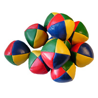 a pile of juggling balls, tennis ball sized, 4 colour with red breen blue and yellow